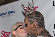 """TV personalities Sharon Needles and Raja arrive to the premiere of """"RuPaul's Drag Race"""" Season 5 at The Abbey on January 22, 2013 in West Hollywood, California."""