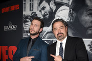 "Pablo Schreiber and Christian Gudegast attend the premiere of STX Films' ""Den of Thieves"" at Regal LA Live Stadium 14 on January 17, 2018 in Los Angeles, California."