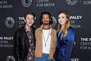 """(L-R) Jacob Bertrand, Xolo Mariduena and Peyton List attend the premiere screening and conversation of YouTube Original's """"Cobra Kai"""" Season 2 at The Paley Center for Media on April 22, 2019 in Beverly Hills, California."""