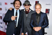 "(L-R) Actors Kim Coates, Tommy Flanagan and Theo Rossi arrive at the season 7 premiere screening of FX's ""Sons of Anarchy"" at the Chinese Theatre on September 6, 2014 in Los Angeles, California."