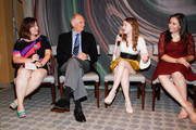 (L-R)  YoungArts Alumna and evenings moderator Zuzanna Szadkowski and Actor Alan Alda with YoungArts Winners Nadia Alexander and Analisa Gutierrez attend the Premiere Screening Of The HBO Special Alan Alda: YoungArts MasterClass With Discussion By Alda And YoungArts Alumni on September 5, 2014 in New York City.