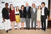 (L-R)    Filmmaker Karen Goodman, Actor Alan Alda and YoungArts President & CEO Paul Lehr (middle) with YoungArts Winners Nile Harris, Analisa Gutierrez, Nadia Alexander, Juliana Sass and Justice Smith attend the Premiere Screening Of The HBO Special Alan Alda: YoungArts MasterClass With Discussion By Alda And YoungArts Alumni on September 5, 2014 in New York City.