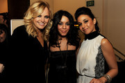 """(L-R) Actors Malin Akerman, Vanessa Hudgens and Emmanuelle Chriqui pose at the after party for the premiere of Shangri-La Entertainment's """"Girl Walks Into A Bar"""" at the Arclight Theater on March 7, 2011 in Los Angeles, California."""