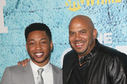 "Actor Jacob Latimore and director Darren Grant attend the premiere of Showtime's ""The Chi"" at Downtown Independent on January 3, 2018 in Los Angeles, California."