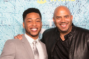 "Actor Jacob Latimore and Director Darren Grant attends the Premiere Of Showtime's ""The Chi"" at Downtown Independent on January 3, 2018 in Los Angeles, California."