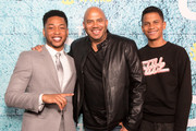 "Actor Jacob Latimore, Director Darren Grant and Sage Grant attends the Premiere Of Showtime's ""The Chi"" at Downtown Independent on January 3, 2018 in Los Angeles, California."