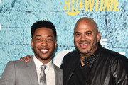 "Actor Jacob Latimore and director Darren Grant  attend the premiere of Showtime's ""The Chi"" at The Downtown Independent on January 3, 2018 in Los Angeles, California."
