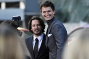 """Director Edgar Wright and Ansel Elgort arrive at the Premiere of Sony Pictures' """"Baby Driver"""" at Ace Hotel on June 14, 2017 in Los Angeles, California."""
