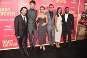 "Actors Lily James, Ansel Elgort, director Edgar Wright, actors Jon Hamm, Eiza Gonzalez, and Jamie Foxx attend the premiere of Sony Pictures' ""Baby Driver"" at Ace Hotel on June 14, 2017 in Los Angeles, California."