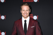 "Sam Heughan attends the premiere of Sony Pictures' ""Bloodshot"" on March 10, 2020 in Los Angeles, California."