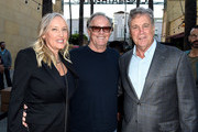 """Actor Peter Fonda (C), his wife Parky DeVogelaere (L) and Tom Bernard, Co-president, Sony Pictures Classics arrive at the premiere of Sony Pictures Classics' """"Boundaries"""" at the American Cinematheque's Egyptian Theatre on June 19, 2018 in Los Angeles, California."""