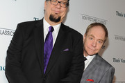 Illusionists Penn Jillette and Teller attend the premiere of Sony Pictures Classics' 'Tim's Vermeer' at Pacific Design Center on January 29, 2014 in West Hollywood, California.