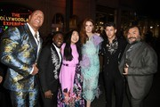 """(L-R) Dwayne Johnson, Kevin Hart, Awkwafina, Karen Gillan, Nick Jonas, and Jack Black attends the premiere of Sony Pictures' """"Jumanji: The Next Level"""" at TCL Chinese Theatre on December 09, 2019 in Hollywood, California."""
