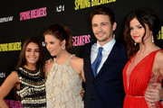 """Actors Vanessa Hudgens, Ashley Benson, James Franco and Selena Gomez attend the """"Spring Breakers"""" premiere at ArcLight Cinemas on March 14, 2013 in Hollywood, California."""