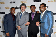 (L-R) Actors RonReaco Lee, Mike O'Malley, Jessie T.Usher, Mike Epps arrive at the Premiere Of Starz 'Survivor's Remorse' at Wallis Annenberg Center for the Performing Arts on September 23, 2014 in Beverly Hills, California.