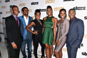 Actors Jessie T.Usher, Mike Epps, Tichina Arnold, Erica Ash, Teyonah Parris, RonReaco Lee arrive at the Premiere Of Starz 'Survivor's Remorse' at Wallis Annenberg Center for the Performing Arts on September 23, 2014 in Beverly Hills, California.