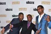 (L-R) Actors RonReaco Lee, Jessie T.Usher, Mike Epps arrive at the Premiere Of Starz 'Survivor's Remorse' at Wallis Annenberg Center for the Performing Arts on September 23, 2014 in Beverly Hills, California.