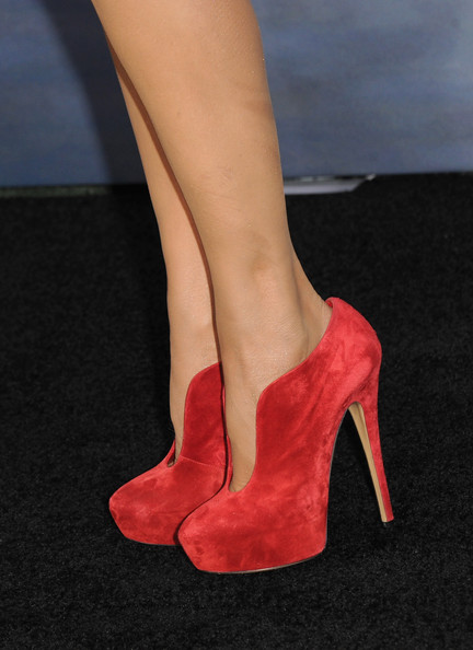 """TV Personality Nancy O'Dell (shoe detail) arrives at the premiere of Summit Entertainment's """"The Twilight Saga: Breaking Dawn - Part 2"""" at Nokia Theatre L.A. Live on November 12, 2012 in Los Angeles, California."""