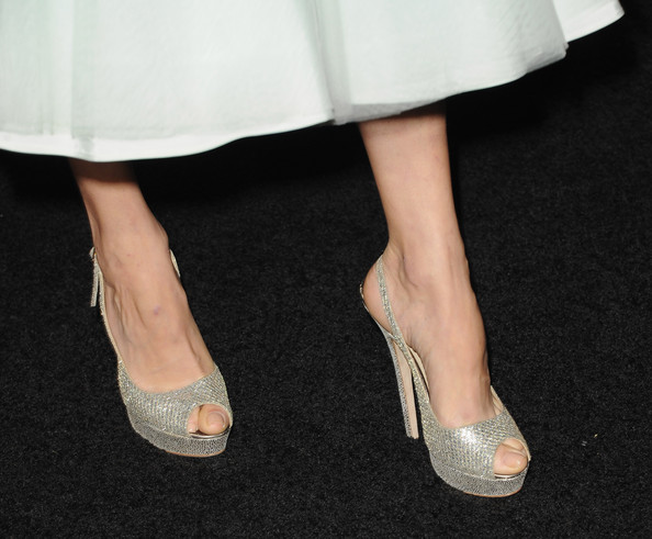 """Actress Angela Sarafyan (shoe detail) arrives at the premiere of Summit Entertainment's """"The Twilight Saga: Breaking Dawn - Part 2"""" at Nokia Theatre L.A. Live on November 12, 2012 in Los Angeles, California."""