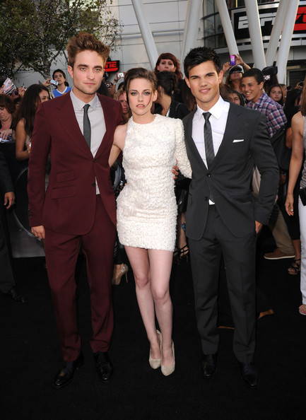 "Kristen Stewart (L-R) Actors Robert Pattinson, Kristen Stewart and Taylor Lautner arrive at the premiere of Summit Entertainment's ""The Twilight Saga: Eclipse"" during the 2010 Los Angeles Film Festival at Nokia Theatre L.A. Live on June 24, 2010 in Los Angeles, California."