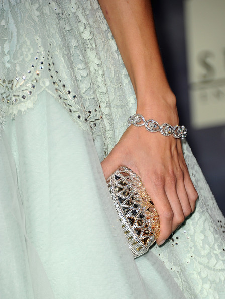 """Actress Angela Sarafyan (jewelry detail) arrives at the premiere of Summit Entertainment's """"The Twilight Saga: Breaking Dawn - Part 2"""" at Nokia Theatre L.A. Live on November 12, 2012 in Los Angeles, California."""