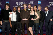 "(L-R) Benjamin Kasulke, Julian A. Mitchell, Joshua Leonard, Sean Nelson, Steven Schardt, Jessica Makinson, Ross Partridge, Chris Caniglia and John Hodgman attend the premiere of ""Treatment"" during the 2011 Tribeca Film Festival at AMC Loews Village 7 on April 22, 2011 in New York City."