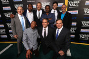 (Top L-R) Producer David Zelon, actors Ser'Darius Blain, Alexander Ludwig, director Thomas Carter, actor Matthew Daddario, Terry Eidson (Bottom L-R) actors Jessie Usher, Jim Caviezel and former coach Bob Ladouceur attend the premiere of Tri Star Pictures' 'When The Game Stands Tall' at ArcLight Cinemas on August 4, 2014 in Hollywood, California.