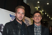 Ryan Hansen (L) and Chris Lowell arrive at the Premiere Of Tribeca Film's 'Beside Still Waters' at Laemmle's Music Hall Theatre on November 16, 2014 in Beverly Hills, California.