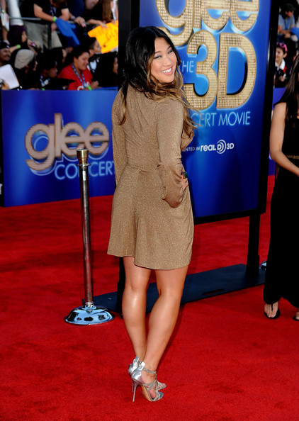 "Actress Jenna Ushkowitz arrives at the Premiere Of Twentieth Century Fox's ""Glee The 3D Concert Movie"" at the Regency Village Theater on August 6, 2011 in Westwood, California."