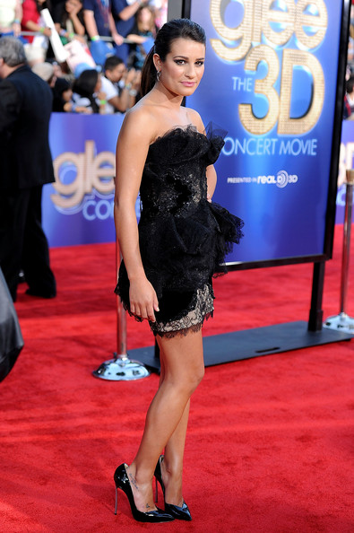 "Actress Lea Michele arrives at the Premiere Of Twentieth Century Fox's ""Glee The 3D Concert Movie"" at the Regency Village Theater on August 6, 2011 in Westwood, California."