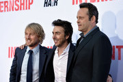 "(L-R) Actor Owen Wilson, director Shawn Levy, and actor Vince Vaughn arrive at the premiere of Twentieth Century Fox's ""The Internship"" at Regency Village Theatre on May 29, 2013 in Westwood, California."
