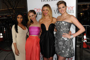 "(L-R) Recording artist Nicki Minaj, actors Leslie Mann, Cameron Diaz and Kate Upton attend the premiere of Twentieth Century Fox's ""The Other Woman"" at Regency Village Theatre on April 21, 2014 in Westwood, California."