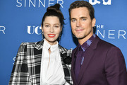 "(L-R) Jessica Biel and Matt Bomer arrive at the Premiere of USA Network's ""The Sinner"" Season 3 at The London West Hollywood on February 03, 2020 in West Hollywood, California."