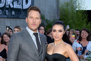 "Actors Chris Pratt (L) and Daniella Pineda arrive at the premiere of Universal Pictures and Amblin Entertainment's ""Jurassic World: Fallen Kingdom"" at the Walt Disney Concert Hall on June 12, 2018 in Los Angeles, California."