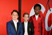 """L-R) Brady Noon, Jacob Tremblay and Keith L. Williams arrive at the premiere of Universal Pictures' """"Good Boys"""" at the Regency Village Theatre on August 14, 2019 in Westwood, California."""