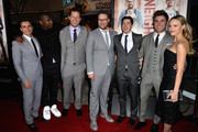 (L-R) Actors Dave Franco, Jerrod Carmichael, Ike Barinholtz, actor/producer Seth Rogen and actors Christopher Mintz-Plasse, Zac Efron and Halston Sage attend Universal Pictures' 'Neighbors' premiere at Regency Village Theatre on April 28, 2014 in Westwood, California.