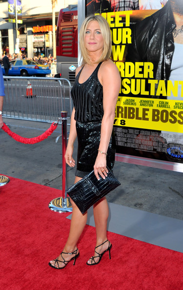 "Actress Jennifer Aniston arrives at the premiere of Warner Bros. Pictures' ""Horrible Bosses"" at Grauman's Chinese Theatre on June 30, 2011 in Hollywood, California."