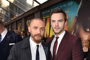 "Actors Tom Hardy (L) and Nicholas Hoult attend the premiere of Warner Bros. Pictures' ""Mad Max: Fury Road"" at TCL Chinese Theatre on May 7, 2015 in Hollywood, California."