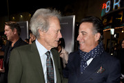 """Clint Eastwood (L) and Andy Garcia pose at the premiere of Warner Bros. Pictures' """"The Mule"""" at the Village Theatre on December 10, 2018 in Los Angeles, California."""