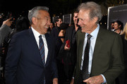 """Kevin Tsujihara (L) and Clint Eastwood attend the premiere of Warner Bros. Pictures' """"The Mule"""" at the Village Theatre on December 10, 2018 in Los Angeles, California."""