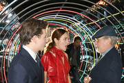 """Tye Sheridan, Olivia Cooke and Steven Spielberg attend the Premiere of Warner Bros. Pictures' """"Ready Player One"""" at Dolby Theatre on March 26, 2018 in Hollywood, California."""