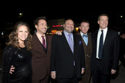 """(L-R) Producer Susan Downey, actor Robert Downey Jr., producer Joel Silver, director Guy Ritchie, and producer Lionel Wigram arrive at the premiere of Warner Bros. Pictures' """"Sherlock Holmes: A Game Of Shadows"""" held at the Regency Village Theatre on December 6, 2011 in Westwood, California."""