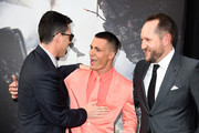 "(L-R) Director Brad Peyton, actor Colton Haynes and producer Beau Flynn attend the premiere of Warner Bros. Pictures' ""San Andreas"" at the TCL Chinese Theatre on May 26, 2015 in Hollywood, California."