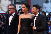 Jaeger LeCoultre Communications Director Laurent Vinay, pianist Jorge Viladoms and Carmen Chaplin wearing Jaeger LeCoultre watches attend the premiere of 'Jackie' during the 73rd Venice Film Festival a Sala Grande on September 7, 2016 in Venice, Italy.
