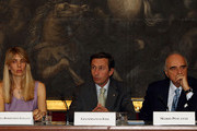 (L-R) Lavinia Borromeo Elkann, President of Chamber of Deputies Gianfranco Fini and IOC executive Board member Mario Pescante attend the press conference for the presentation of the Torino 2010 ISU World Figure Skating Championships, at Montecitorio Palace on March 10, 2010 in Rome, Italy.