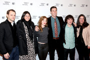 (L-R) Writer and director Christopher Denham, Jennifer Dubin, Wrenn Schmidt, Pablo Schreiber, Nick Saso and Cora Olson attend the 'Preservation' Premiere during the 2014 Tribeca Film Festival at the SVA Theater on April 17, 2014 in New York City.
