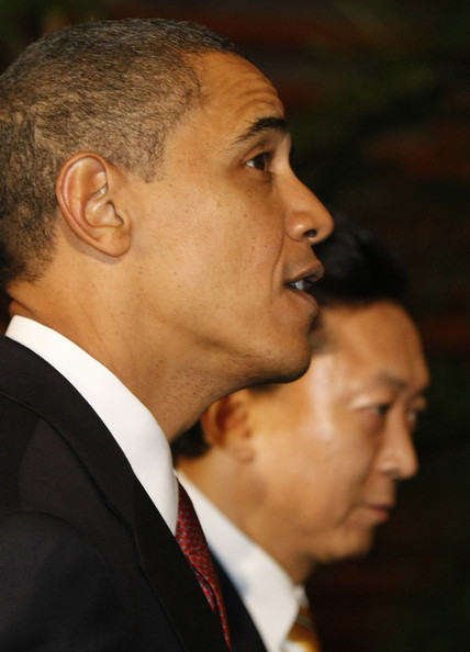 U.S President Barack Obama (L) is escorted by Japanese Prime Minister Yukio Hatoyama upon his arrival at the Prime Minister's official residence on November 13, 2009 in Tokyo, Japan. President Obama is in Japan for discussions on the US military presence in Okinawa, and is also thought to have scheduled discussions regarding Japans role in Afghanistan.