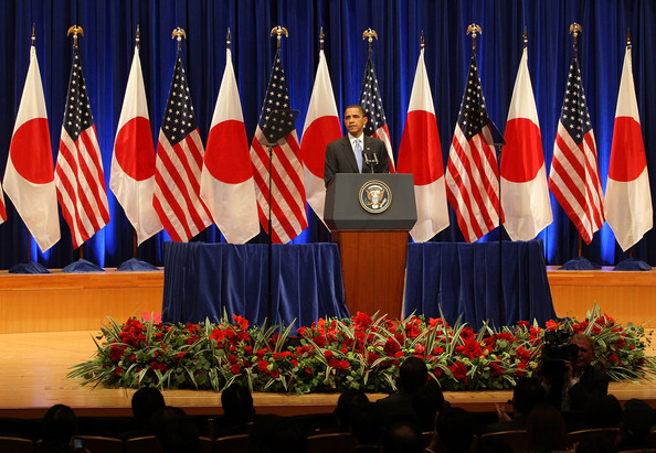 U.S. President Barack Obama speaks on U.S./Asia policy at Suntory Hall on November 14, 2009 in Tokyo, Japan. Obama is in Japan for two days prior to attending the 17th APEC Economic Leaders' Meeting in Singapore.