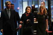 Carly Fiorina (C) walks into Trump Tower  on December 12, 2016 in New York City. President-elect Donald Trump continues to hold meetings with potential members of his cabinet at his office.