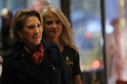 Carly Fiorina (C) walks into Trump Tower with political strategist Kellyanne Conway on December 12, 2016 in New York City. President-elect Donald Trump continues to hold meetings with potential members of his cabinet at his office.